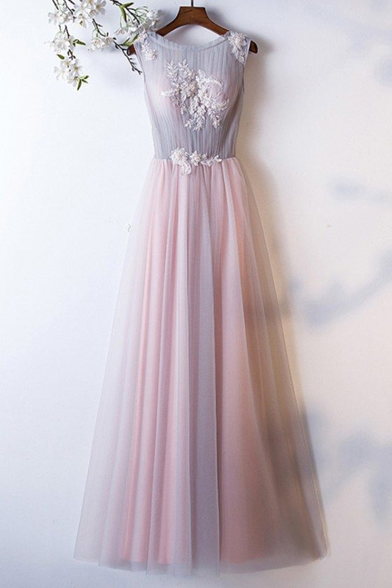 Grey Pink Tulle Aline Long Prom Dress Sleeveless With Flowers