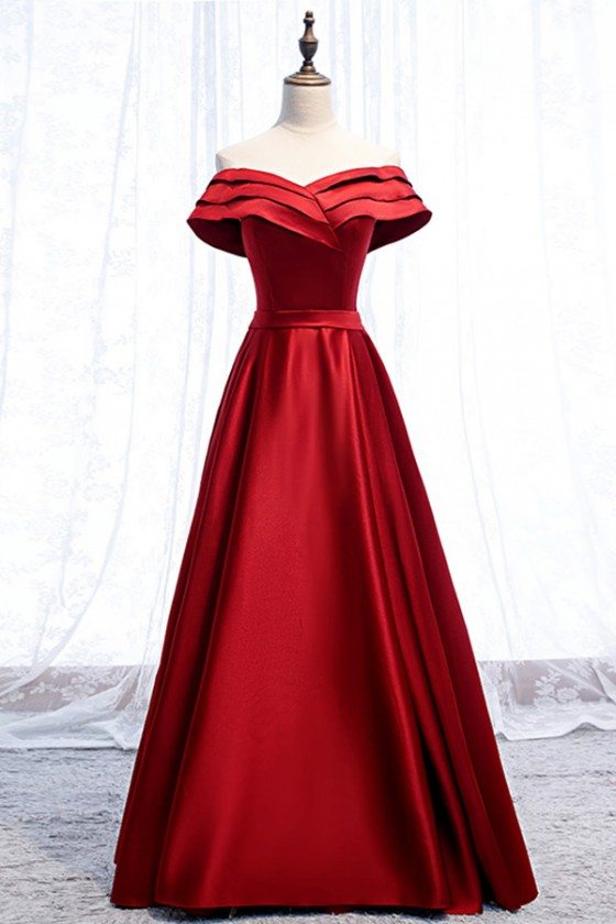 Red Burgundy Satin Party Dress With Pleated Off Shoulder
