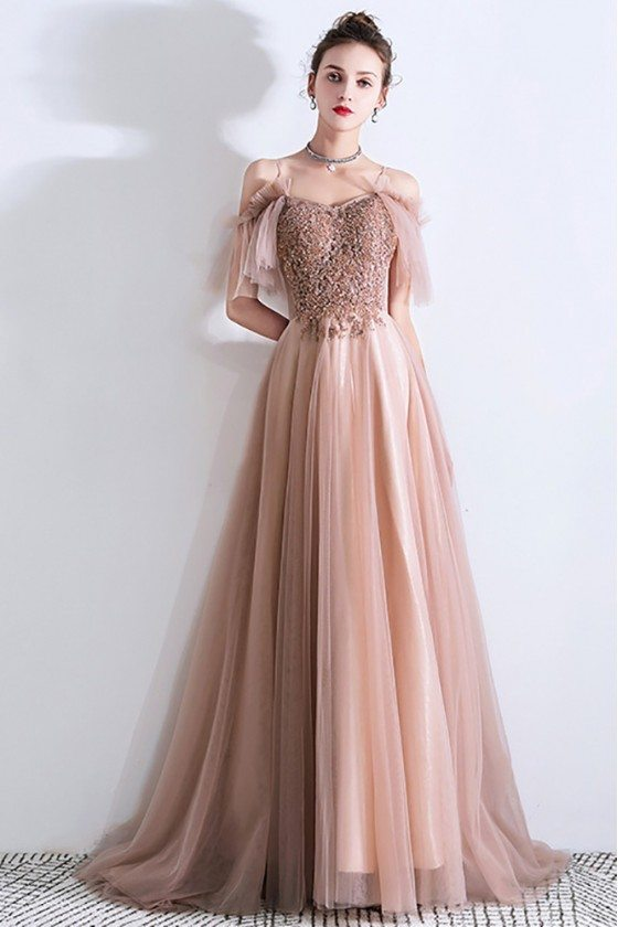 Pretty Champagne Long Tulle Prom Dress Elegant With Sequined Lace