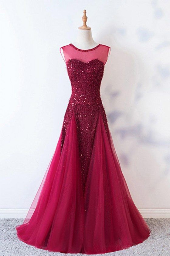 Burgundy Keyhole Back Long Tulle Party Dress With Sequins