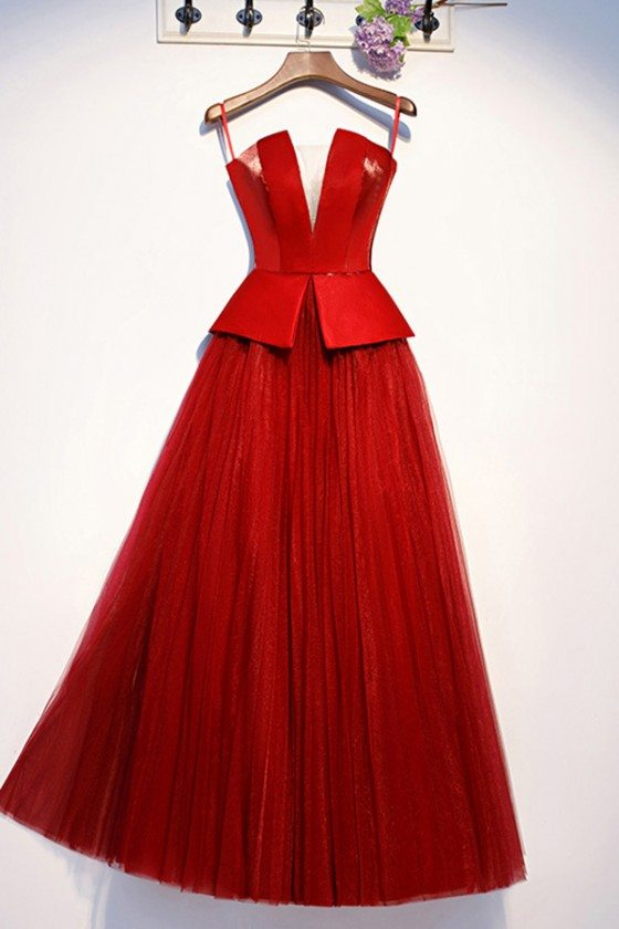 Burgundy Red Tulle Party Dress Strapless With Laceup