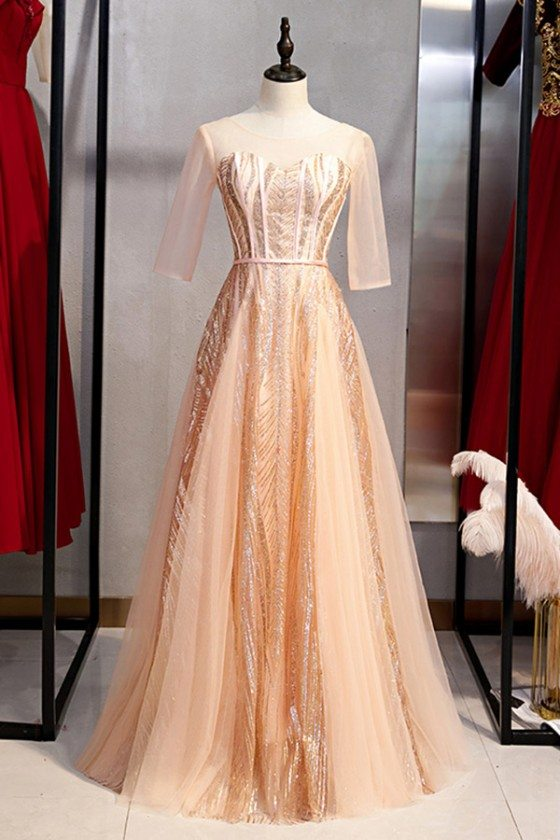 Tulle Sequins Long Pink Formal Dress With Sheer Sleeves