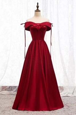 Off Shoulder Burgundy Satin...