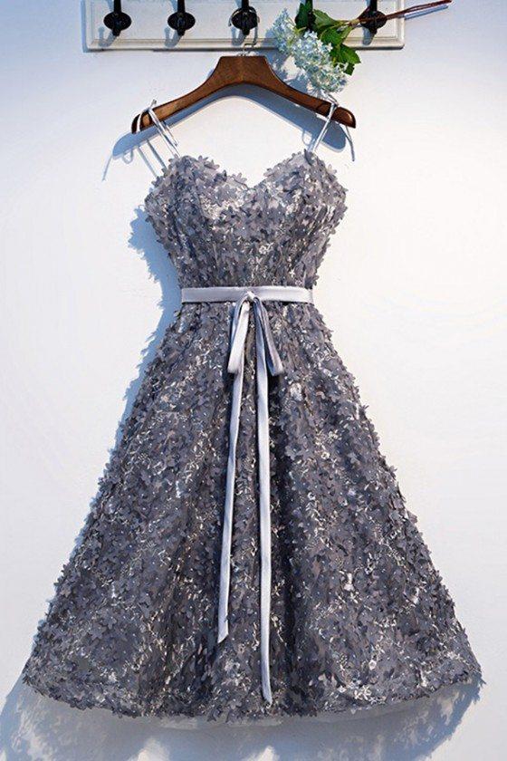 Dark Grey Flowers Short Party Dress With Sash