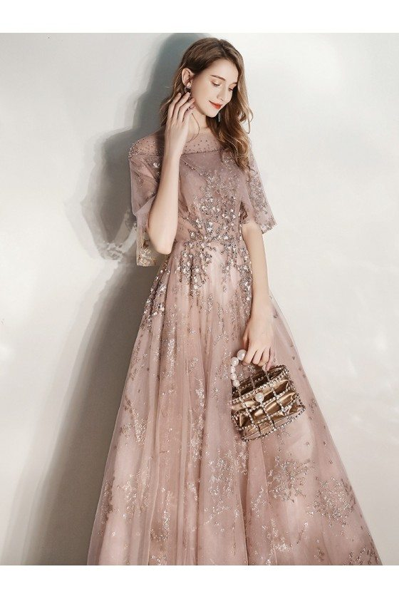 Sparkly Sequins Long Champagne Aline Prom Dress With Cape Sleeves Beading