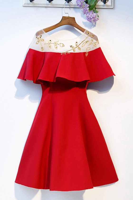 Short Red Party Dress Aline With Gold Beadings