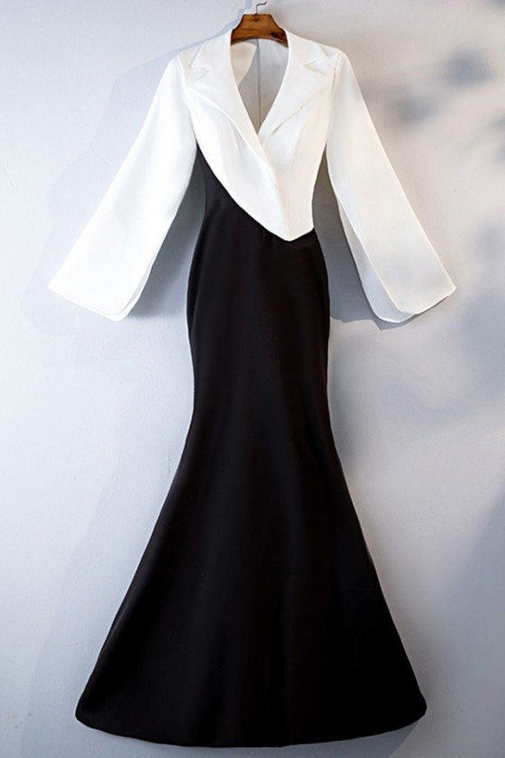 Formal Long Black And White Mermaid Dress With Suit Long Sleeve