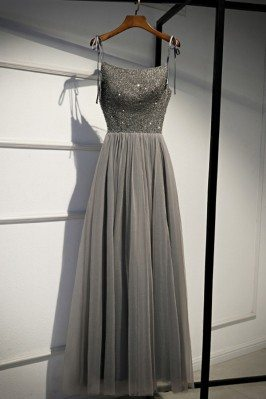 Grey Sequins Top Long Tulle...