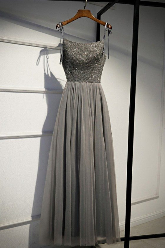 Grey Sequins Top Long Tulle Prom Dress Aline With Straps