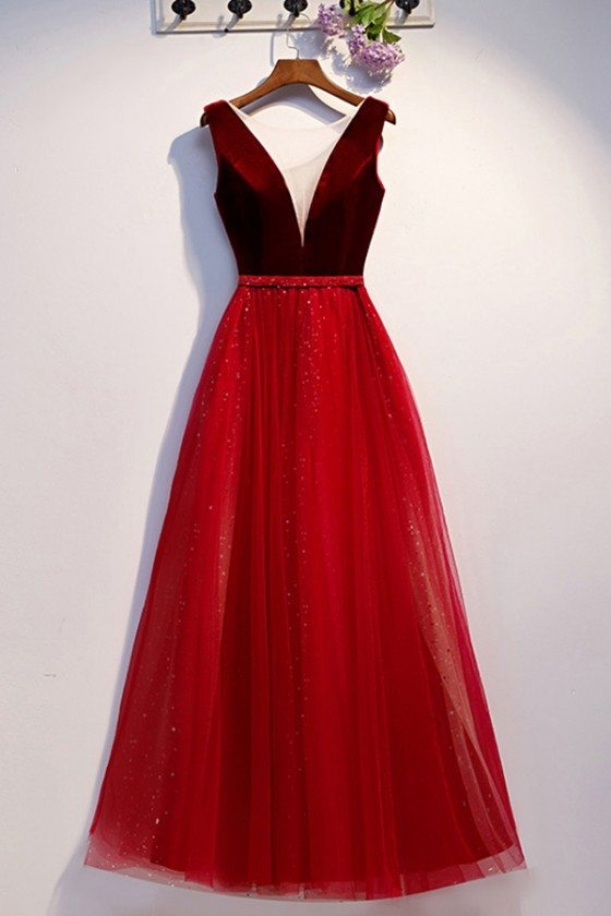 Aline Long Tulle Burgundy Formal Dress With Illusion Vneck