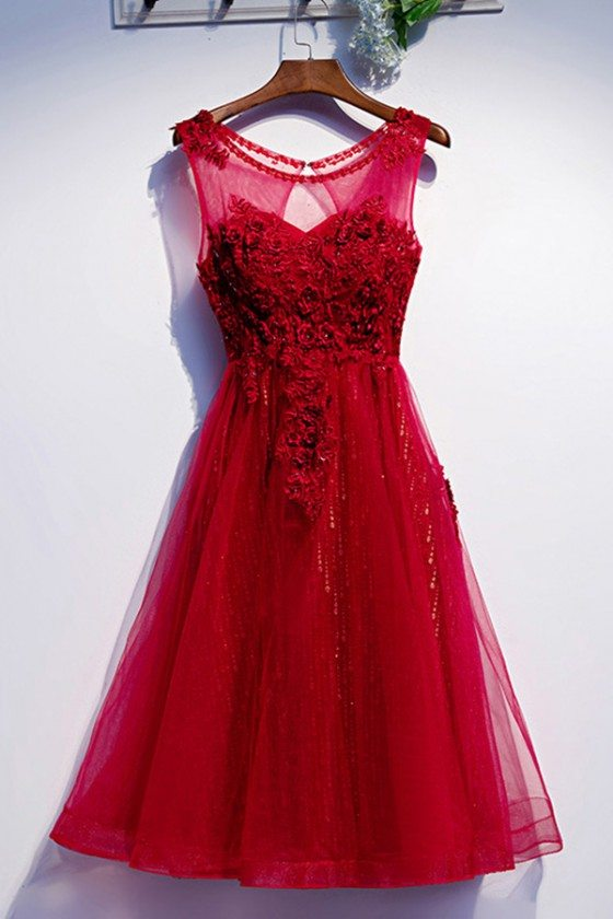 Tulle Tea Length Burgundy Formal Party Dress With Appliques