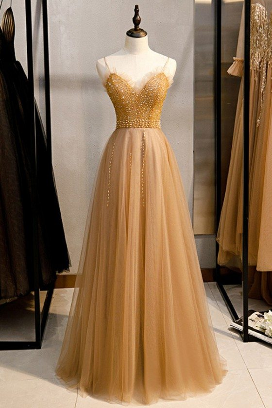 Champagne Long Tulle Prom Dress With Sequined Top