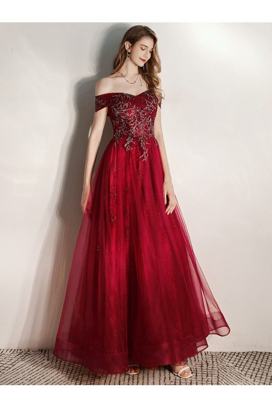 Burgundy Off Shoulder Long Tulle Sequined Top Prom Dress With Sequins