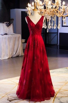 Burgundy Long Red Formal...