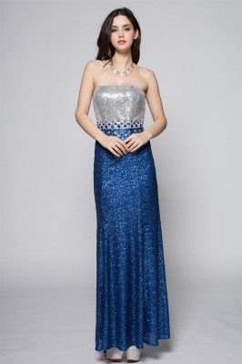 Strapless Sequin Blue Long Party Dress