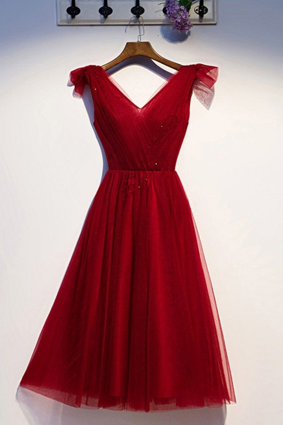 Burgundy Simple Short Tulle Party Dress With Vneck