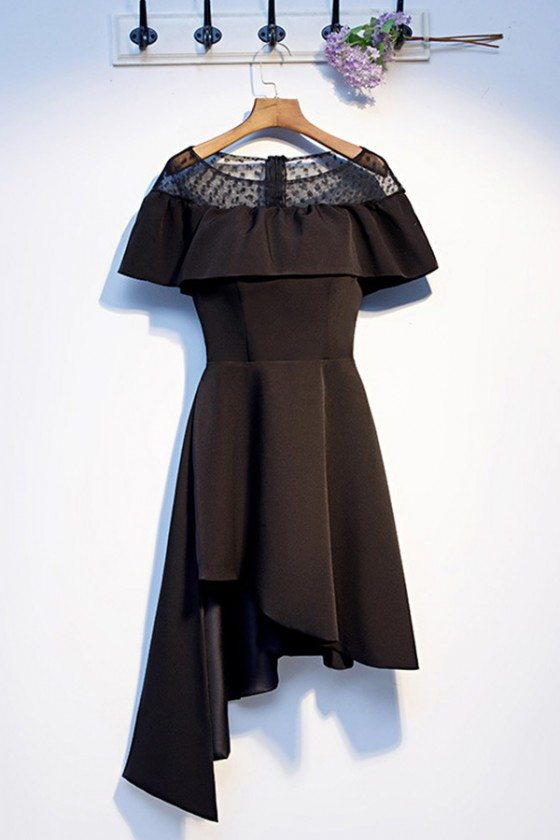 Casual Black Asymmetrical Little Black Party Dress With Sleeves