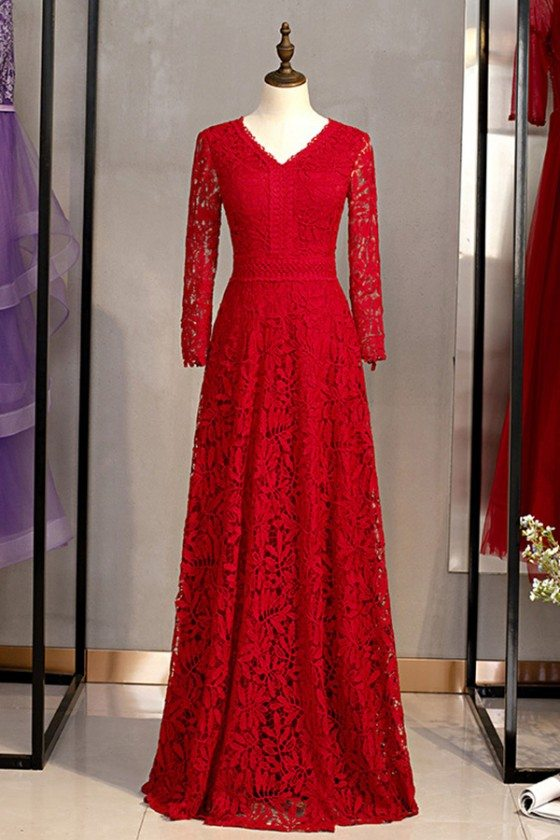 Vneck Full Lace Burgundy Red Evening Dress With Long Sleeves