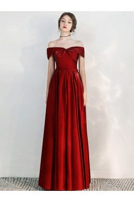 Off Shoulder Long Red...