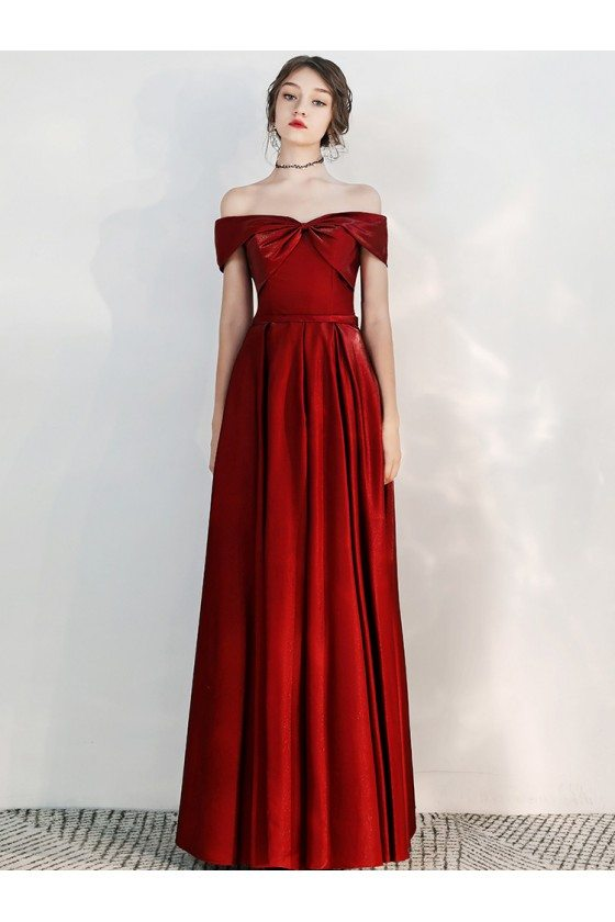 Off Shoulder Long Red Evening Party Dress For Weddings