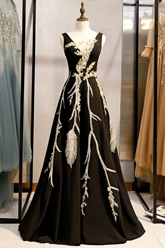 Formal Long Black Evening Dress With Unique Embroidery Sequins
