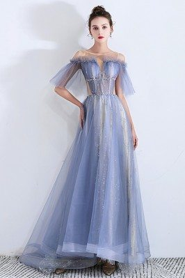 Sheer Top Blue Tulle Long...