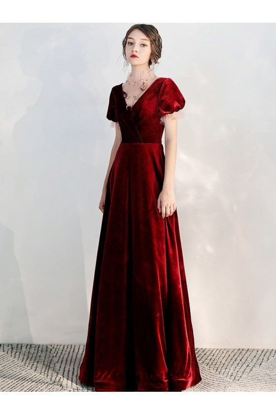 Retro Long Burgundy Velvet Formal Party Dress With Sleeves