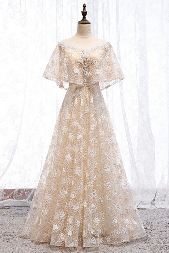 Aline Long Lace Champagne Party Prom Dress With Cape