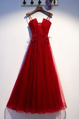 Burgundy Long Tulle Lace...