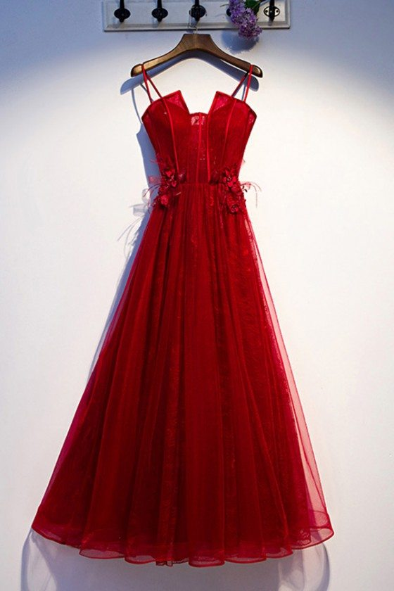 Burgundy Long Tulle Lace Prom Dress Aline With Straps