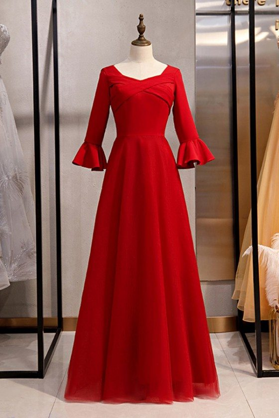 Burgundy Long Red Satin Evening Formal Dress With Flare Sleeves