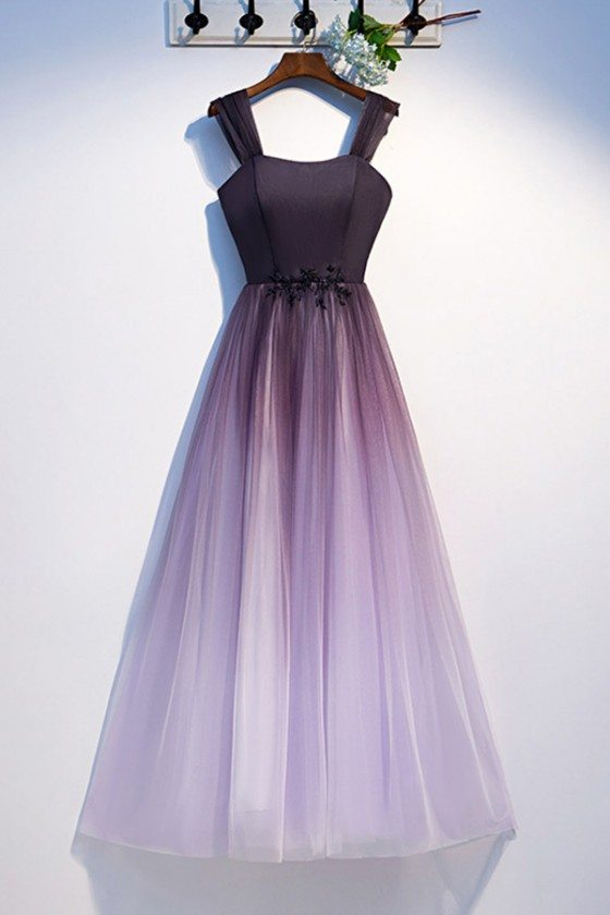 Aline Ombre Long Tulle Purple Prom Dress With Straps
