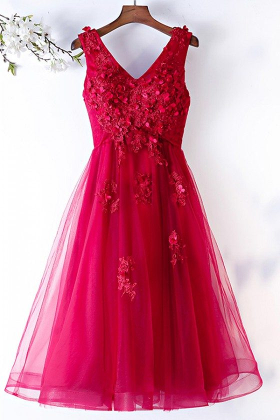 Cute Tea Length Tulle Party Dress Vneck With Flowers Petals
