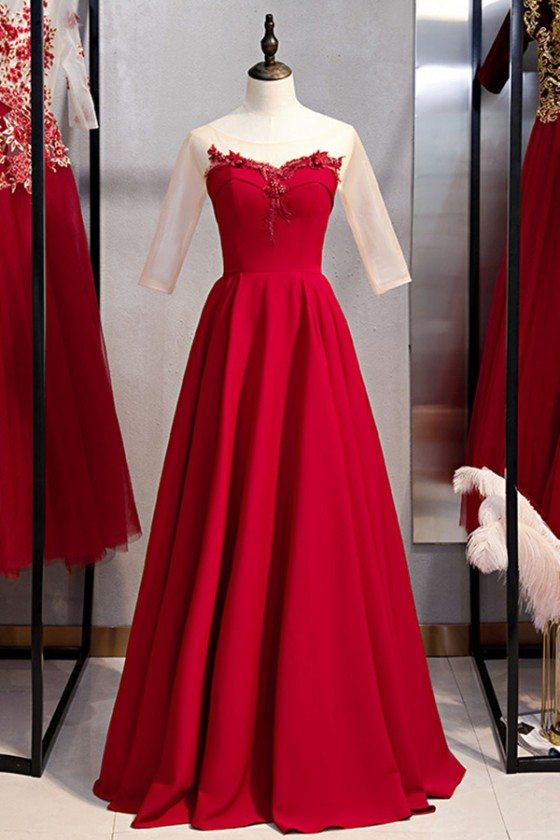 Long Red Burgundy Evening Dress With Illusion Neckline