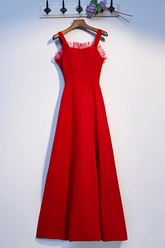 Red Simple Long Aline Party Dress With Straps