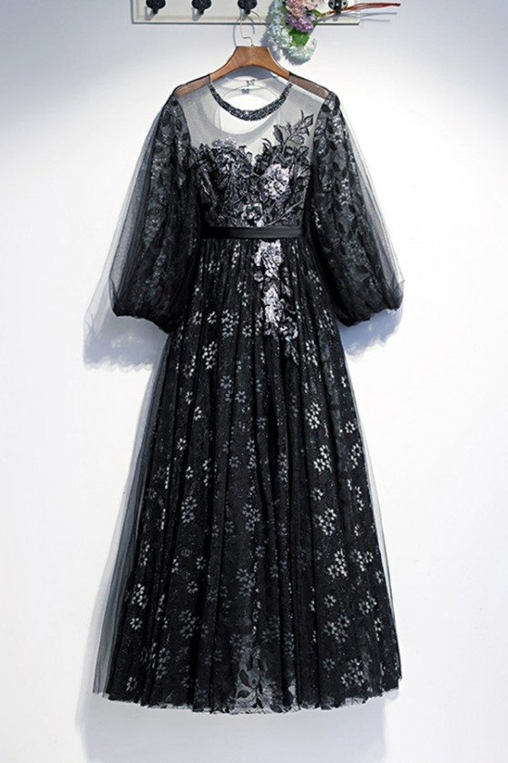 Embroidery Long Black Formal Dress With Sheer Lace Sleeves