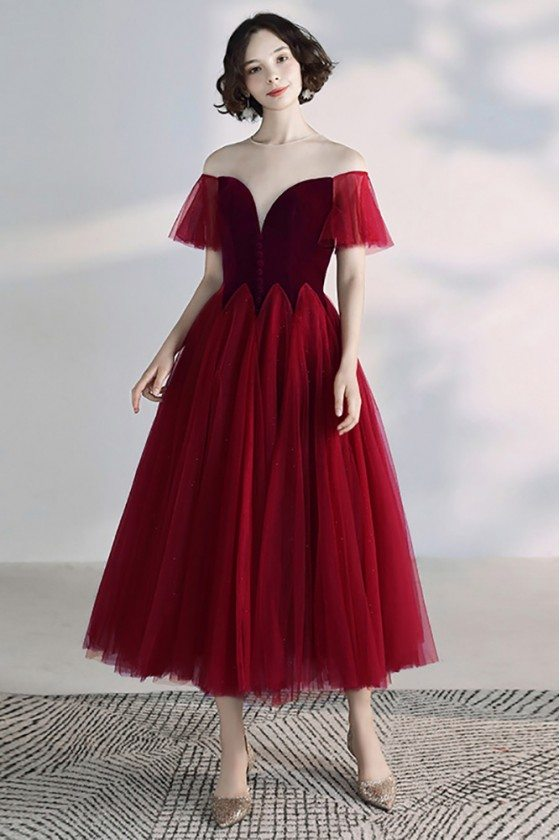 Retro Romantic Burgundy Tea Length Tulle Party Dress With Illusion Neckline