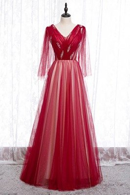 Flowy Long Red Tulle Prom...