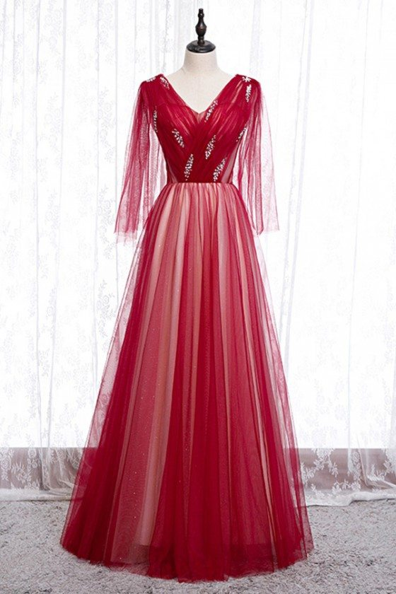 Flowy Long Red Tulle Prom Dress Vneck With Puffy Sleeves
