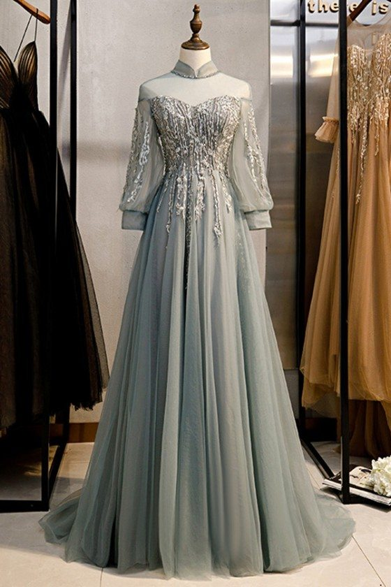Long Grey Flowy Tulle Prom Dress With Appliques