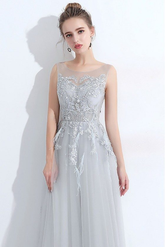 Flowy Grey Tulle Elegant Prom Dress Lace With Sheer Neckline