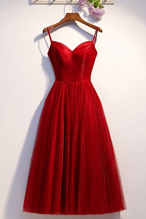 Simple Burgundy Tulle Aline Party Dress With Straps