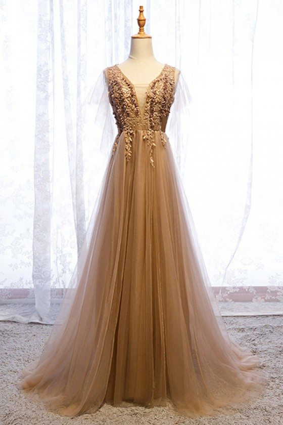 Elegant Brown Gold Long Tulle Prom Dress Flowy With Train