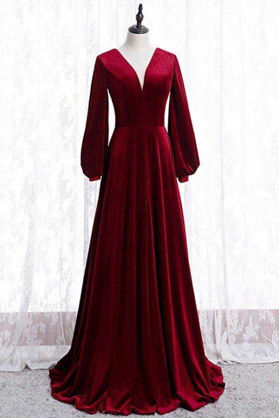 Burgundy Long Evening Velvet Dress Vneck With Sleeves