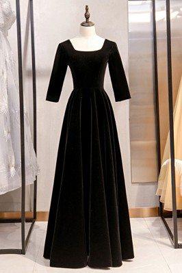Simple Long Black Velvet...