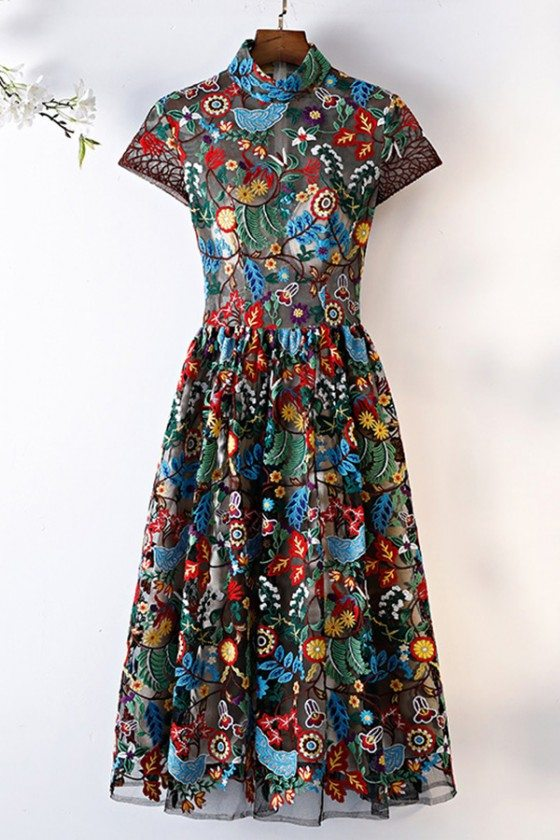 Unique Exotic Tea Length Party Dress Colorful Pattern With Collar