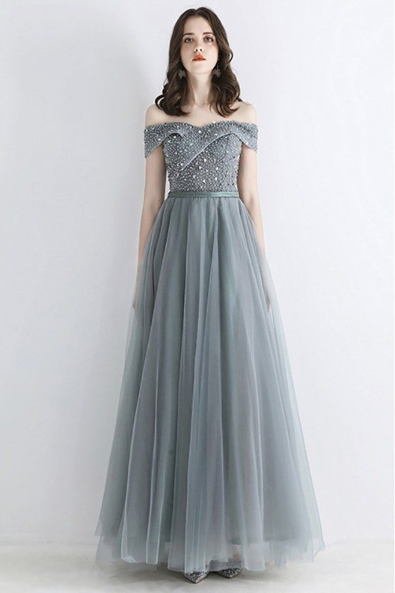 Dusty Grey Beaded Top Long Tulle Prom Dress Off Shoulder