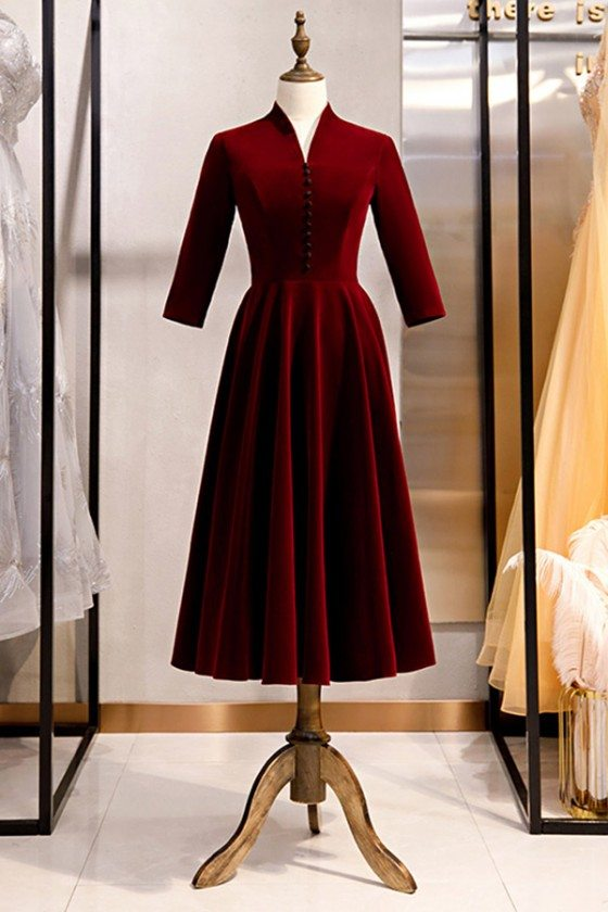 Velvet Tea Length Burgundy Party Dress With Sleeves