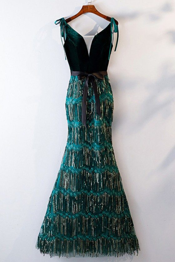 Unique Green Sequins Mermaid Formal Dress Long With Straps
