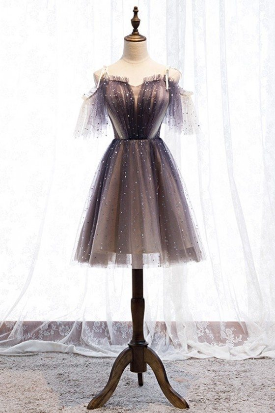 Cute Short Tulle Bling Party Dress With Straps